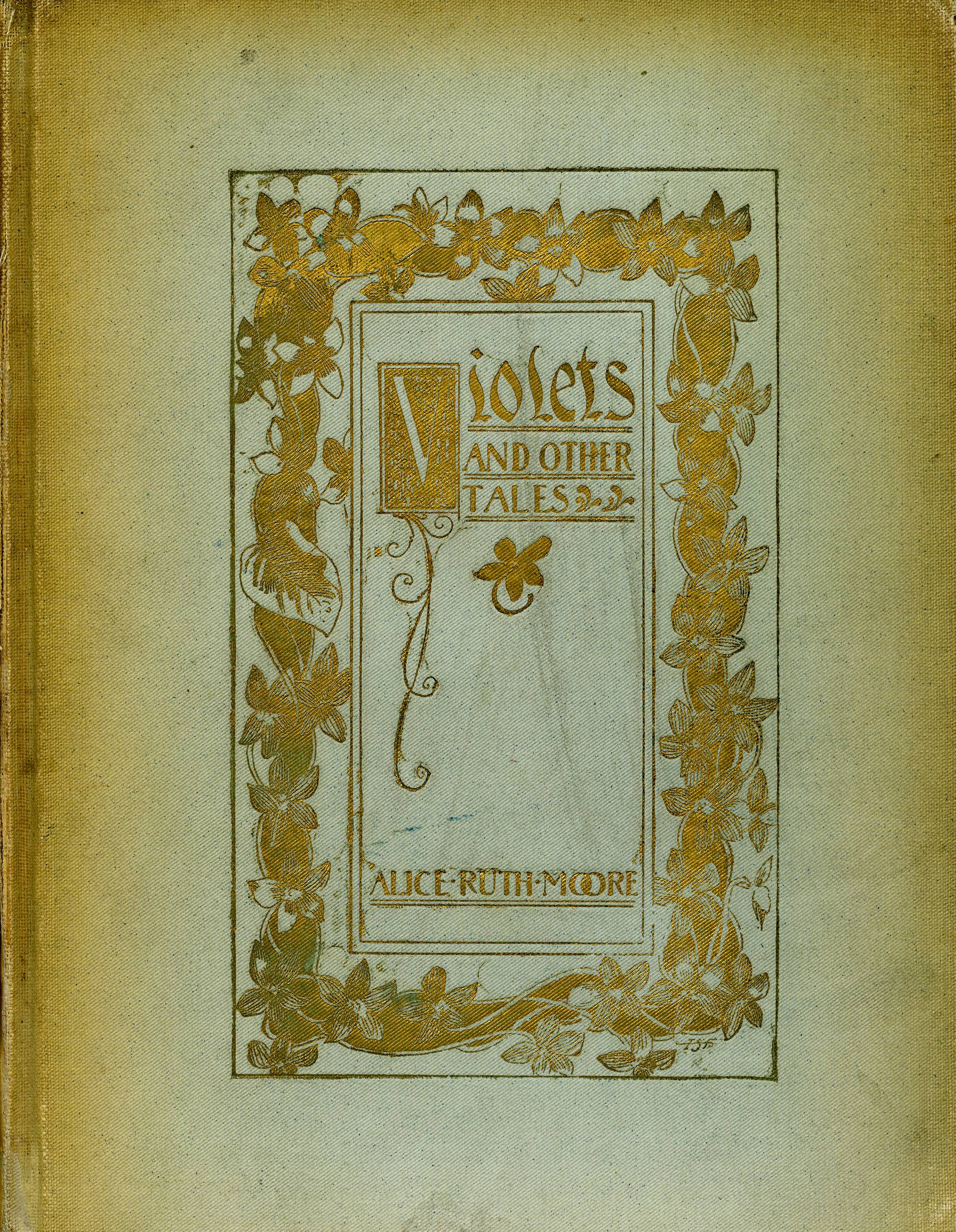 Photo of an ornate old book cover for Violets And Other Tales
