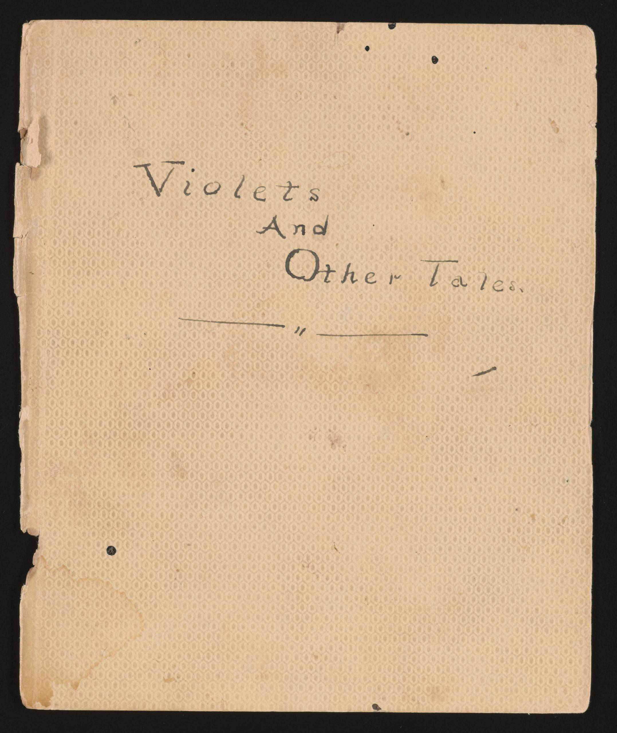 Photo of Handwritten text that reads Violets And Other Tales
