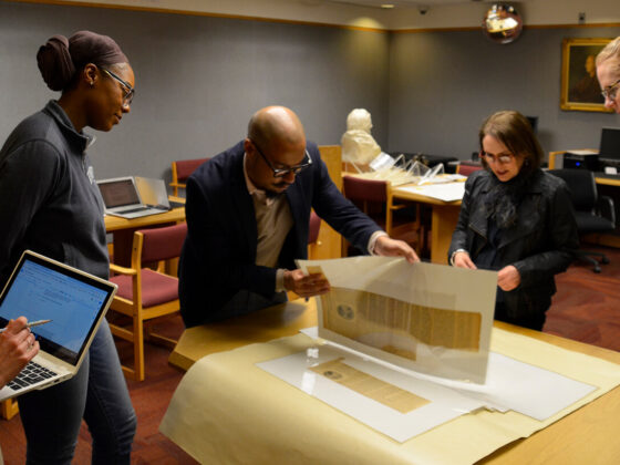 Exhibition co-curators and the Rosenbach exhibition team explore the Alice Dunbar-Nelson papers at the University of Delaware Library, February 13, 2020.