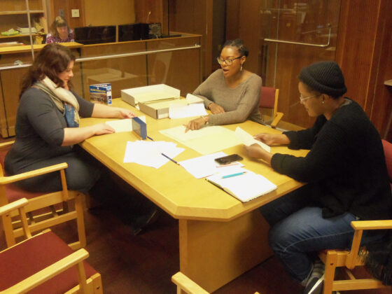 Rosenbach Director of Education Emilie Parker, consulting curator Monet Timmons, and Rosenbach trustee Yolanda Wisher at the University of Delaware Library, January 29, 2020.
