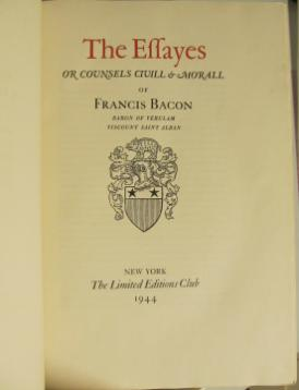 francis bacon essay on revenge Francis bacon the essays of francis ld verulam viscount st albans the essays of truth of death of unity in religion of revenge of adversity.