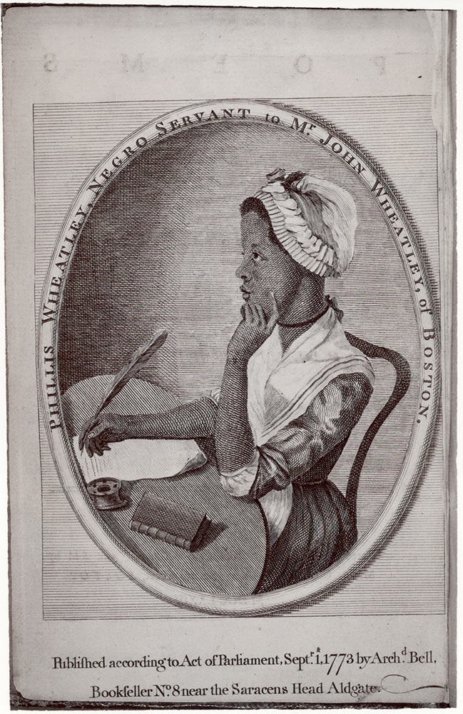 Frontispiece to Phillis Wheatley's Poems on various subjects, religious and moral. London: printed by A. Bell, 1773. A 773p.