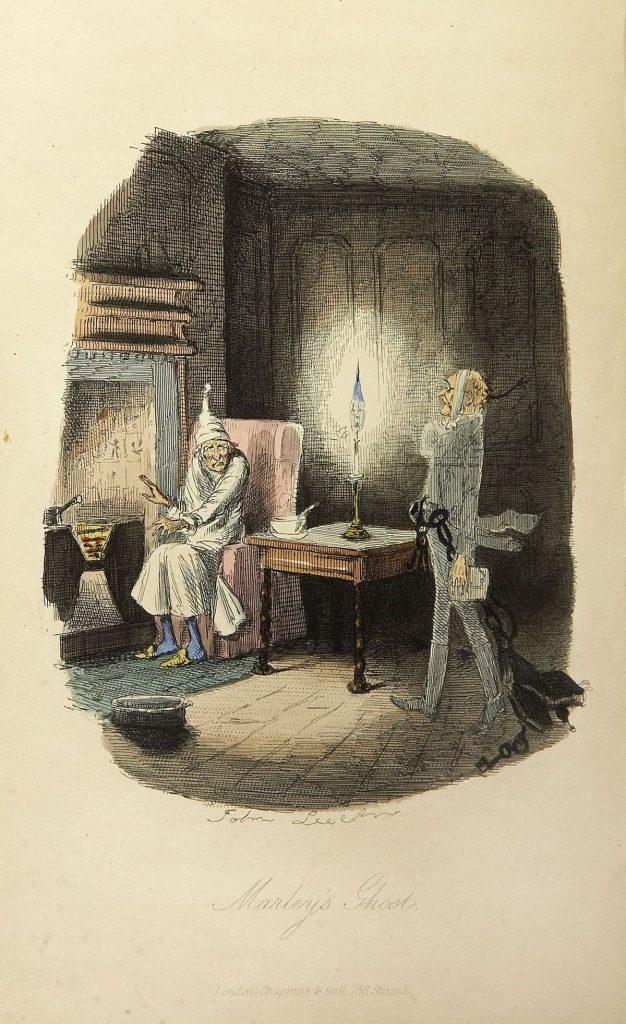 Jacob Marley's ghost visits Scrooge in Charles Dickens' A Christmas Carol