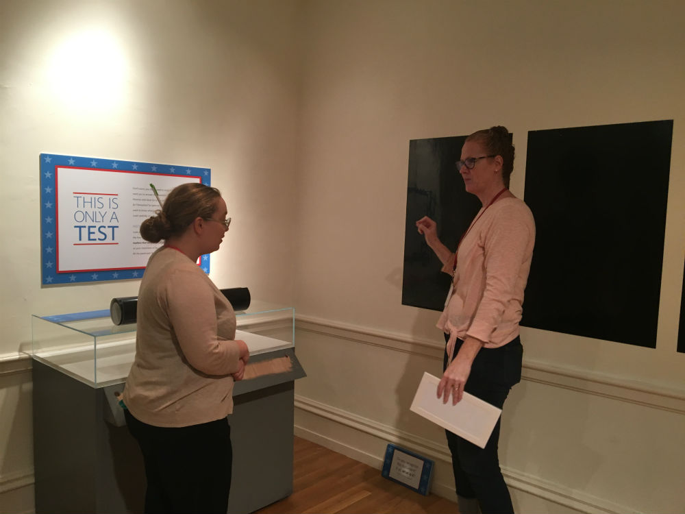 Hope and exhibition designer Casey discuss installation strategy